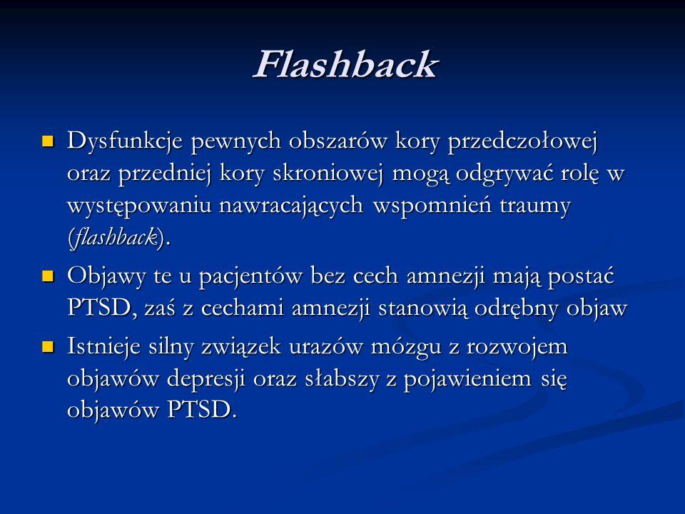 Flashback Dysfunkcje pewnych obszarów kory przedczołowej oraz przedniej kory skroniowej mogą odgrywać rolę w występowaniu nawracających wspomnień traumy (flashback).
