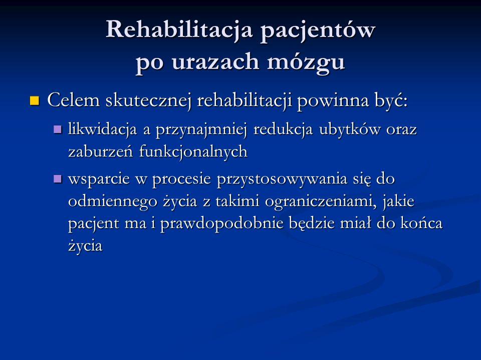 Rehabilitacja pacjentów po urazach mózgu Celem skutecznej rehabilitacji powinna być: Celem skutecznej rehabilitacji powinna być: likwidacja a przynajmniej redukcja ubytków oraz zaburzeń funkcjonalnych likwidacja a przynajmniej redukcja ubytków oraz zaburzeń funkcjonalnych wsparcie w procesie przystosowywania się do odmiennego życia z takimi ograniczeniami, jakie pacjent ma i prawdopodobnie będzie miał do końca życia wsparcie w procesie przystosowywania się do odmiennego życia z takimi ograniczeniami, jakie pacjent ma i prawdopodobnie będzie miał do końca życia