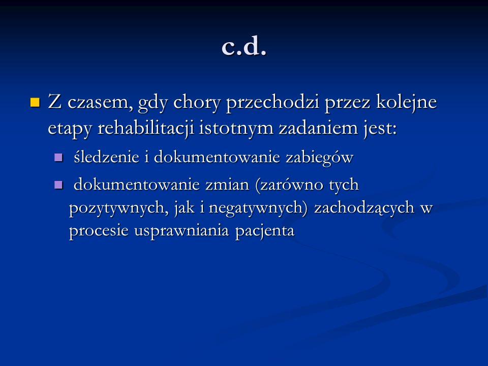 c.d. Z czasem, gdy chory przechodzi przez kolejne etapy rehabilitacji istotnym zadaniem jest: Z czasem, gdy chory przechodzi przez kolejne etapy rehab