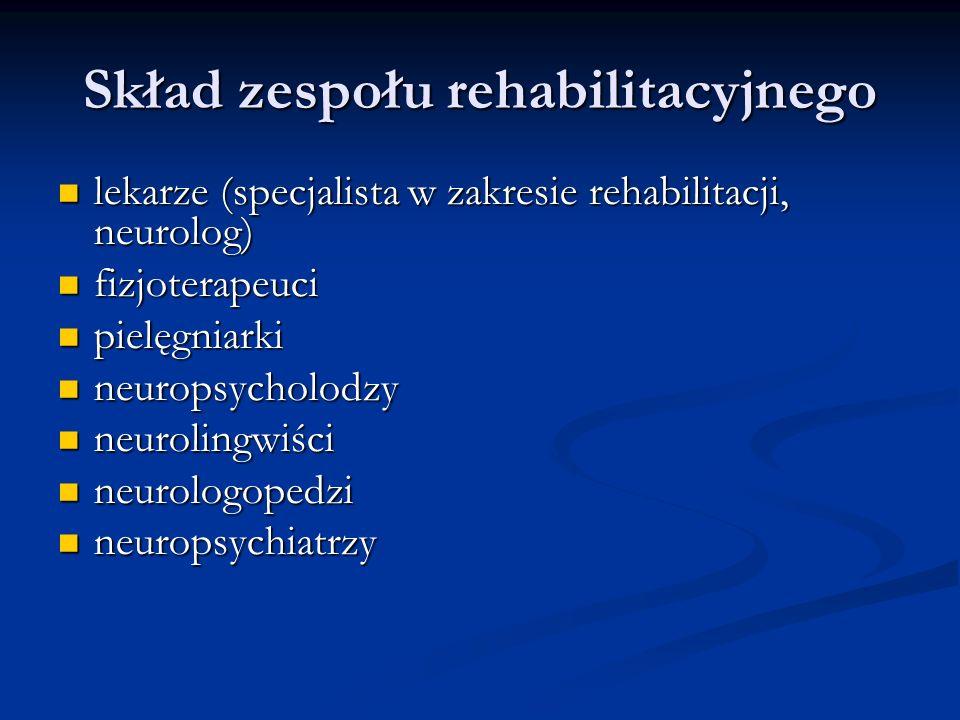 Skład zespołu rehabilitacyjnego lekarze (specjalista w zakresie rehabilitacji, neurolog) lekarze (specjalista w zakresie rehabilitacji, neurolog) fizjoterapeuci fizjoterapeuci pielęgniarki pielęgniarki neuropsycholodzy neuropsycholodzy neurolingwiści neurolingwiści neurologopedzi neurologopedzi neuropsychiatrzy neuropsychiatrzy