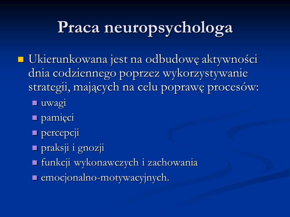 Praca neuropsychologa Ukierunkowana jest na odbudowę aktywności dnia codziennego poprzez wykorzystywanie strategii, mających na celu poprawę procesów: Ukierunkowana jest na odbudowę aktywności dnia codziennego poprzez wykorzystywanie strategii, mających na celu poprawę procesów: uwagi uwagi pamięci pamięci percepcji percepcji praksji i gnozji praksji i gnozji funkcji wykonawczych i zachowania funkcji wykonawczych i zachowania emocjonalno-motywacyjnych.