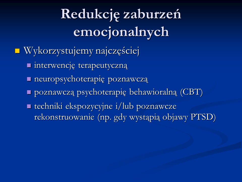 Redukcję zaburzeń emocjonalnych Wykorzystujemy najczęściej Wykorzystujemy najczęściej interwencję terapeutyczną interwencję terapeutyczną neuropsychoterapię poznawczą neuropsychoterapię poznawczą poznawczą psychoterapię behawioralną (CBT) poznawczą psychoterapię behawioralną (CBT) techniki ekspozycyjne i/lub poznawcze rekonstruowanie (np.
