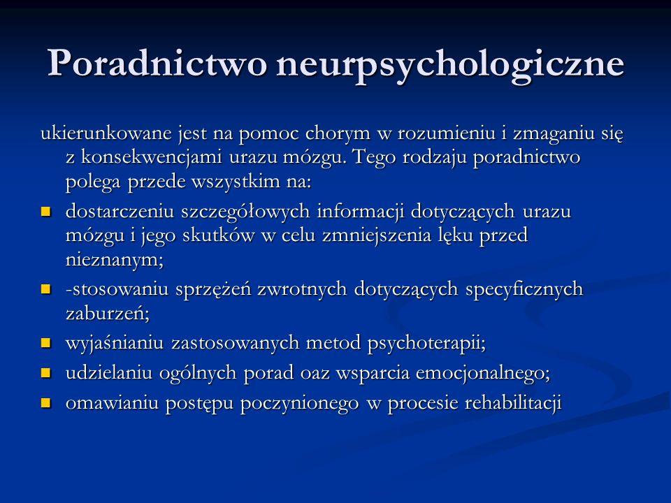Poradnictwo neurpsychologiczne ukierunkowane jest na pomoc chorym w rozumieniu i zmaganiu się z konsekwencjami urazu mózgu. Tego rodzaju poradnictwo p