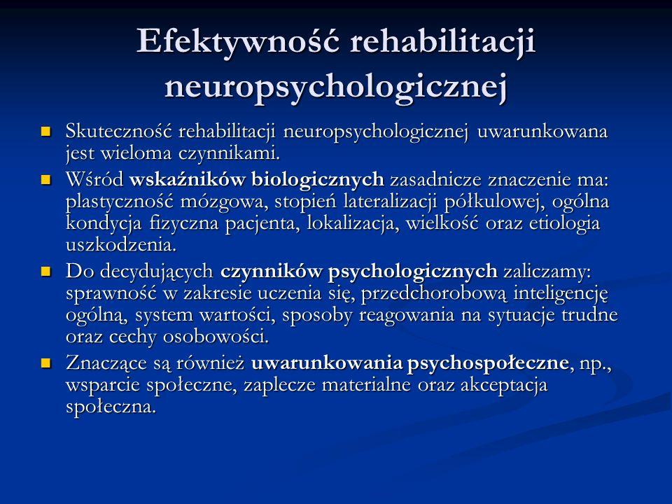 Efektywność rehabilitacji neuropsychologicznej Skuteczność rehabilitacji neuropsychologicznej uwarunkowana jest wieloma czynnikami. Skuteczność rehabi