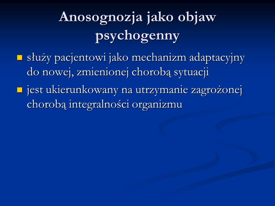 Anosognozja jako objaw psychogenny służy pacjentowi jako mechanizm adaptacyjny do nowej, zmienionej chorobą sytuacji służy pacjentowi jako mechanizm adaptacyjny do nowej, zmienionej chorobą sytuacji jest ukierunkowany na utrzymanie zagrożonej chorobą integralności organizmu jest ukierunkowany na utrzymanie zagrożonej chorobą integralności organizmu