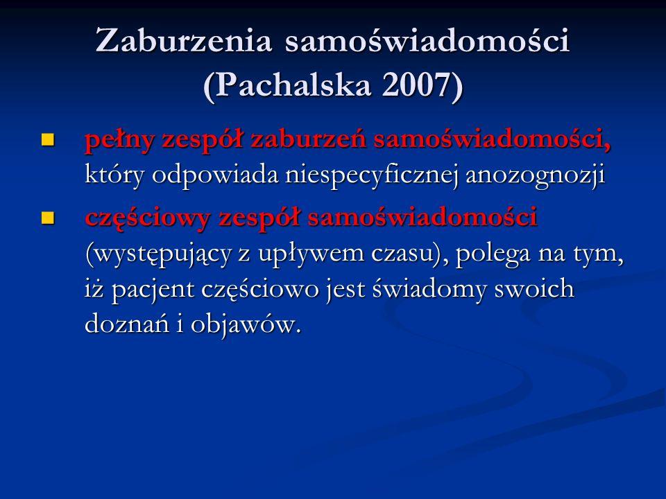 Zaburzenia samoświadomości (Pachalska 2007) pełny zespół zaburzeń samoświadomości, który odpowiada niespecyficznej anozognozji pełny zespół zaburzeń s