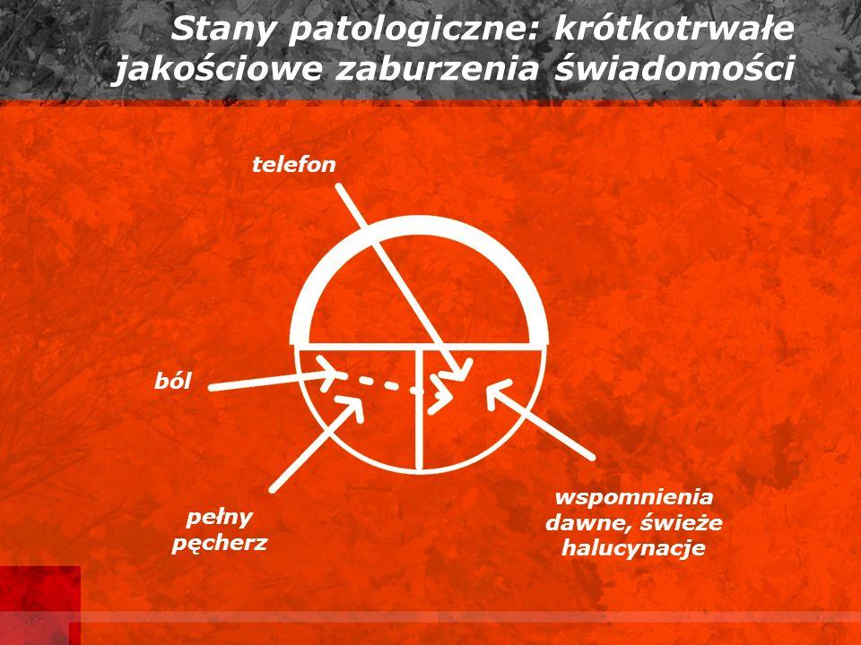 Stany patologiczne: krótkotrwałe jakościowe zaburzenia świadomości telefon ból pełny pęcherz wspomnienia dawne, świeże halucynacje