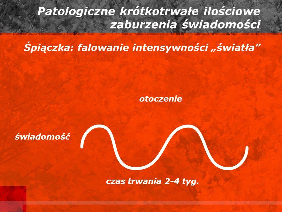 Patologiczne krótkotrwałe ilościowe zaburzenia świadomości Śpiączka: falowanie intensywności światła otoczenie świadomość czas trwania 2-4 tyg.