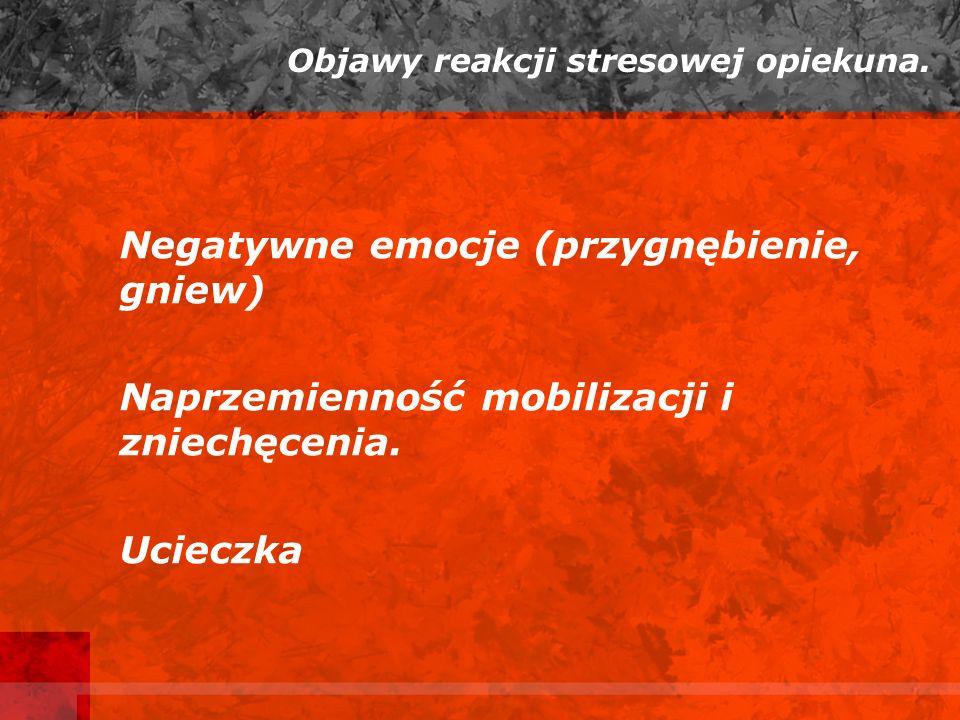 Objawy reakcji stresowej opiekuna.