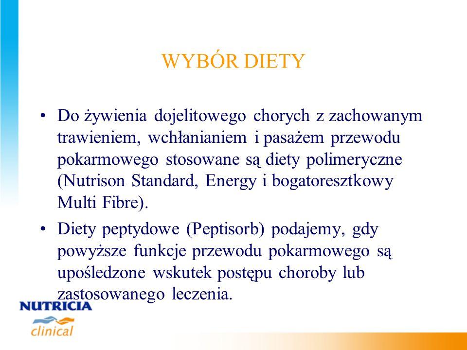WYBÓR DIETY Do żywienia dojelitowego chorych z zachowanym trawieniem, wchłanianiem i pasażem przewodu pokarmowego stosowane są diety polimeryczne (Nut