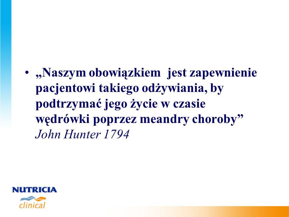Naszym obowiązkiem jest zapewnienie pacjentowi takiego odżywiania, by podtrzymać jego życie w czasie wędrówki poprzez meandry choroby John Hunter 1794