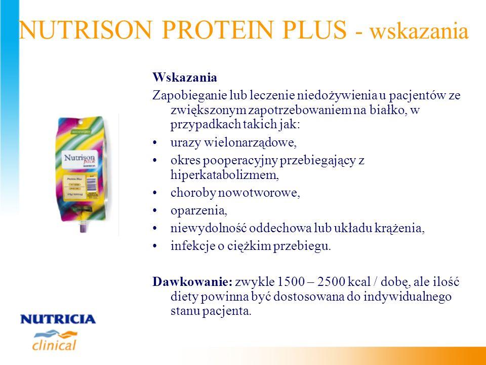 Wskazania Zapobieganie lub leczenie niedożywienia u pacjentów ze zwiększonym zapotrzebowaniem na białko, w przypadkach takich jak: urazy wielonarządow
