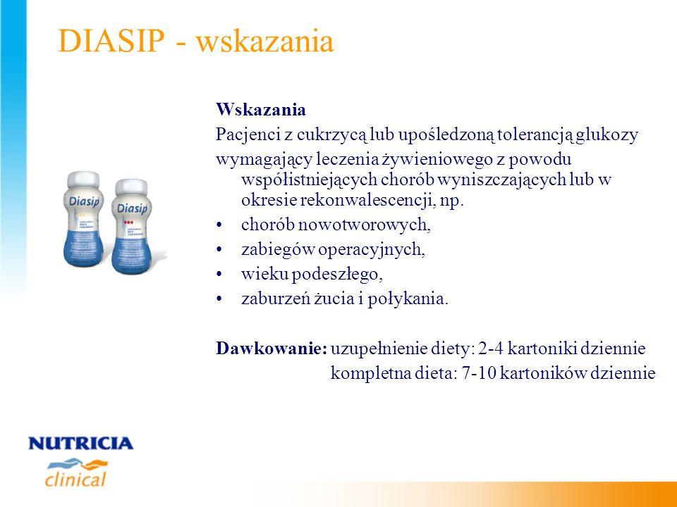 DIASIP - wskazania Wskazania Pacjenci z cukrzycą lub upośledzoną tolerancją glukozy wymagający leczenia żywieniowego z powodu współistniejących chorób