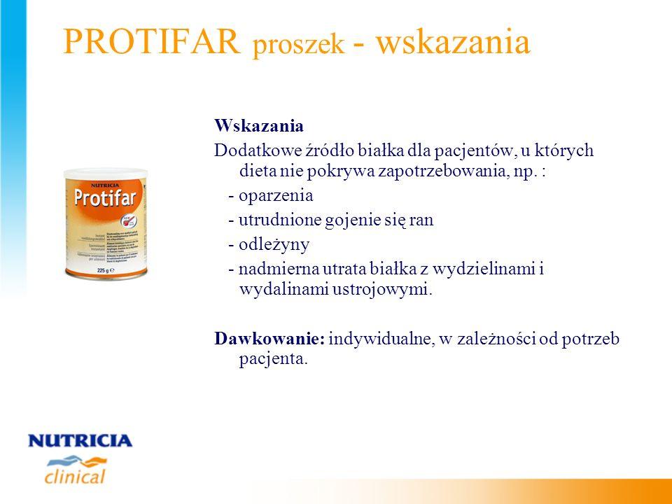 PROTIFAR proszek - wskazania Wskazania Dodatkowe źródło białka dla pacjentów, u których dieta nie pokrywa zapotrzebowania, np. : - oparzenia - utrudni