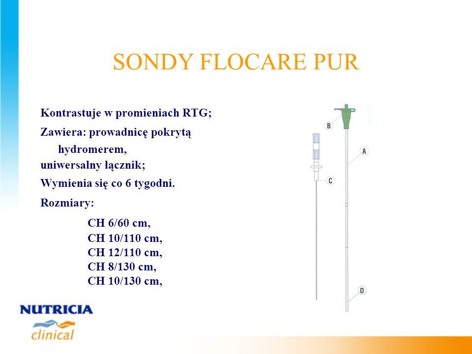 SONDY FLOCARE PUR Kontrastuje w promieniach RTG; Zawiera: prowadnicę pokrytą hydromerem, uniwersalny łącznik; Wymienia się co 6 tygodni. Rozmiary: CH