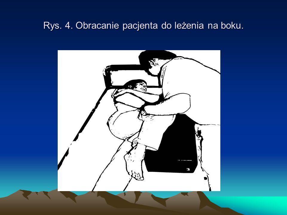 Rys. 4. Obracanie pacjenta do leżenia na boku.