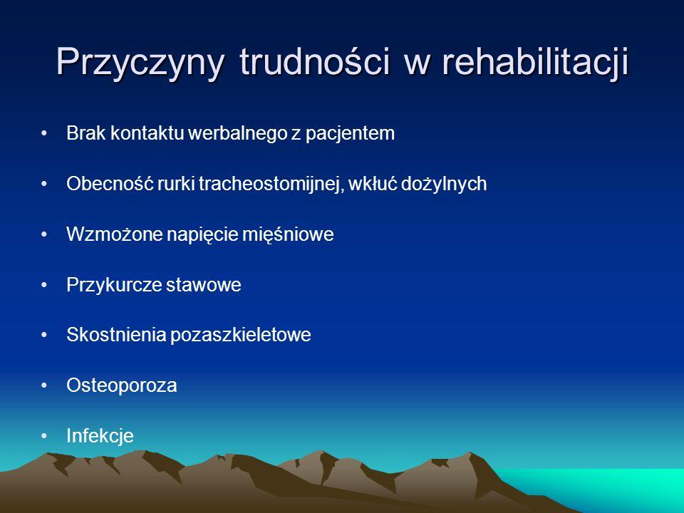 Przyczyny trudności w rehabilitacji Brak kontaktu werbalnego z pacjentem Obecność rurki tracheostomijnej, wkłuć dożylnych Wzmożone napięcie mięśniowe