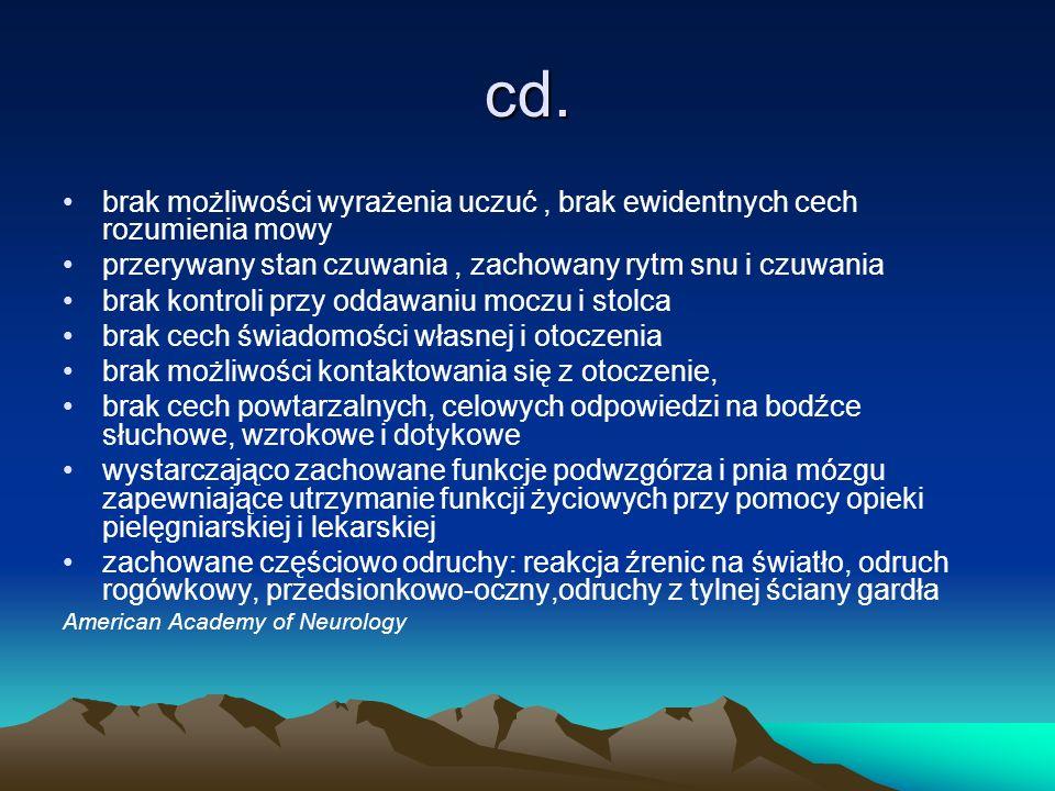 cd. brak możliwości wyrażenia uczuć, brak ewidentnych cech rozumienia mowy przerywany stan czuwania, zachowany rytm snu i czuwania brak kontroli przy