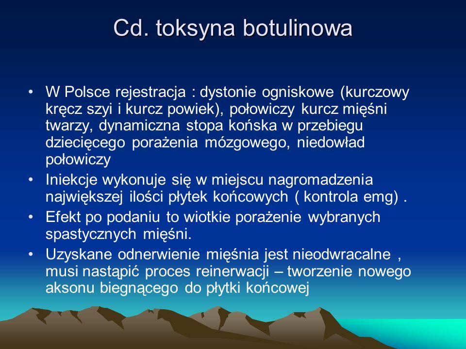 Cd. toksyna botulinowa W Polsce rejestracja : dystonie ogniskowe (kurczowy kręcz szyi i kurcz powiek), połowiczy kurcz mięśni twarzy, dynamiczna stopa