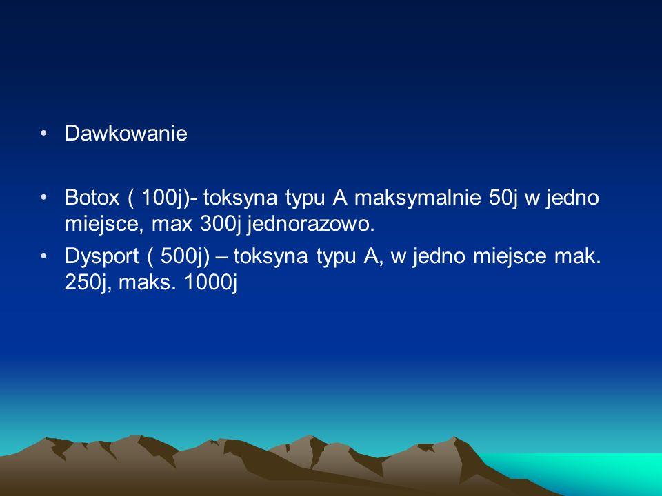 Dawkowanie Botox ( 100j)- toksyna typu A maksymalnie 50j w jedno miejsce, max 300j jednorazowo. Dysport ( 500j) – toksyna typu A, w jedno miejsce mak.