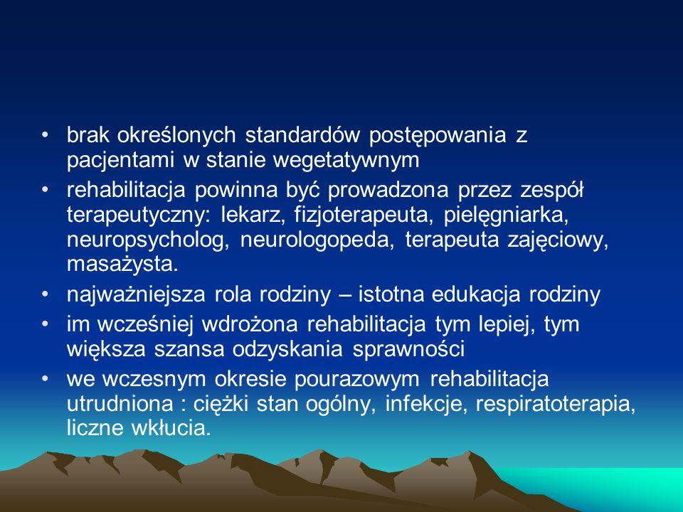brak określonych standardów postępowania z pacjentami w stanie wegetatywnym rehabilitacja powinna być prowadzona przez zespół terapeutyczny: lekarz, f