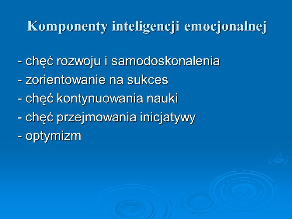 Komponenty inteligencji emocjonalnej - chęć rozwoju i samodoskonalenia - zorientowanie na sukces - chęć kontynuowania nauki - chęć przejmowania inicja