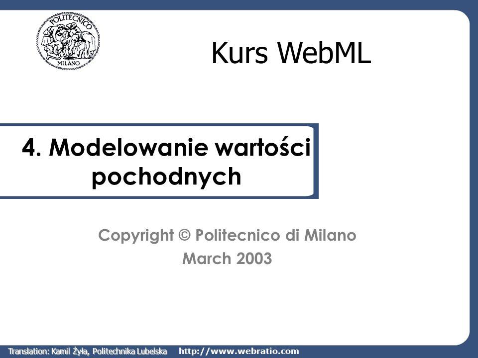 http://www.webratio.com User2Favorites Relacje pochodne Łączenie par obiektów spełniających pewien warunek User2Favorites jest relacją, która łączy obiekt użytkownika ze wszystkimi artykułami w kategoriach, które znajdują się w zbiorze ulubionych kategorii użytkownika Category User2Preference ArticleUser User2Article TOOLS Translation: Kamil Żyła, Politechnika Lubelska