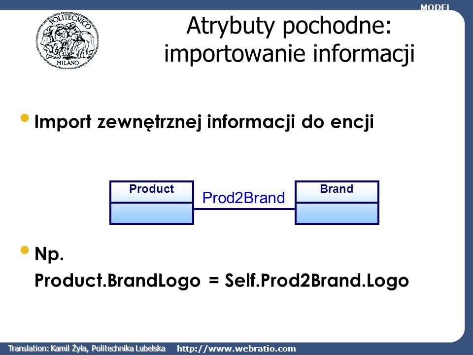 http://www.webratio.com Atrybuty pochodne: importowanie informacji Import zewnętrznej informacji do encji Np. Product.BrandLogo = Self.Prod2Brand.Logo
