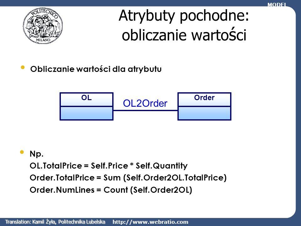 http://www.webratio.com Atrybuty pochodne: obliczanie warto ś ci Np. OL.TotalPrice = Self.Price * Self.Quantity Order.TotalPrice = Sum (Self.Order2OL.