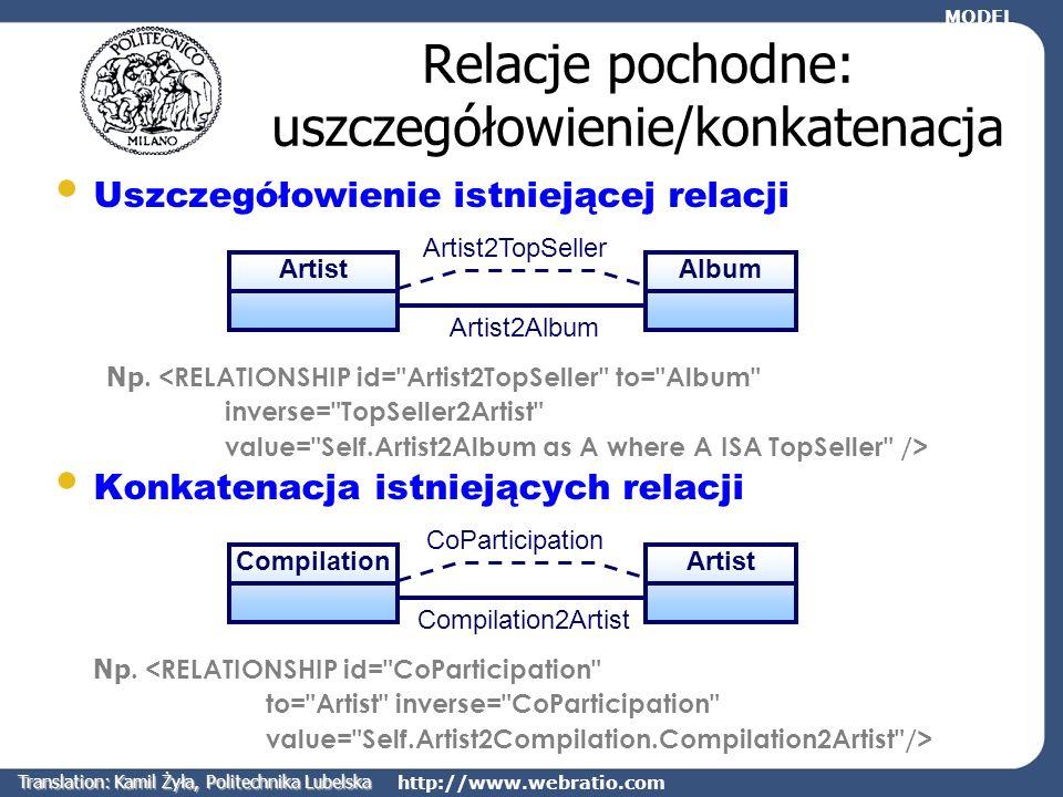 http://www.webratio.com Relacje pochodne: uszczegółowienie/konkatenacja Uszczegółowienie istniejącej relacji Np. <RELATIONSHIP id=