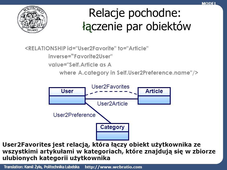 http://www.webratio.com User2Favorites Relacje pochodne: łączenie par obiektów <RELATIONSHIP id=