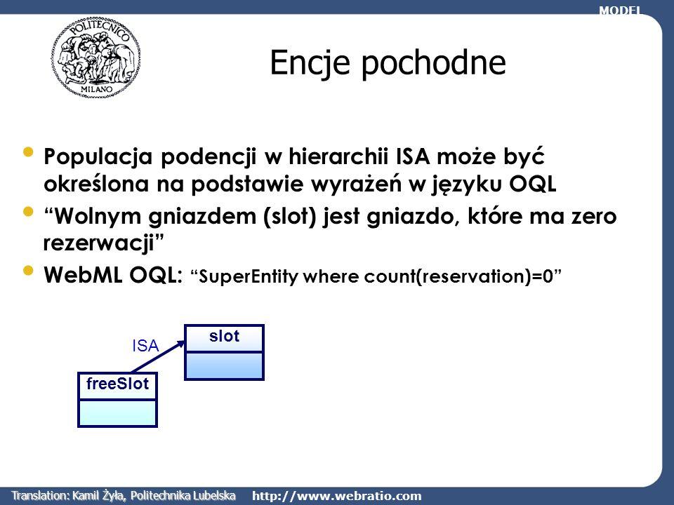 http://www.webratio.com Encje pochodne Populacja podencji w hierarchii ISA może być określona na podstawie wyrażeń w języku OQL Wolnym gniazdem (slot)