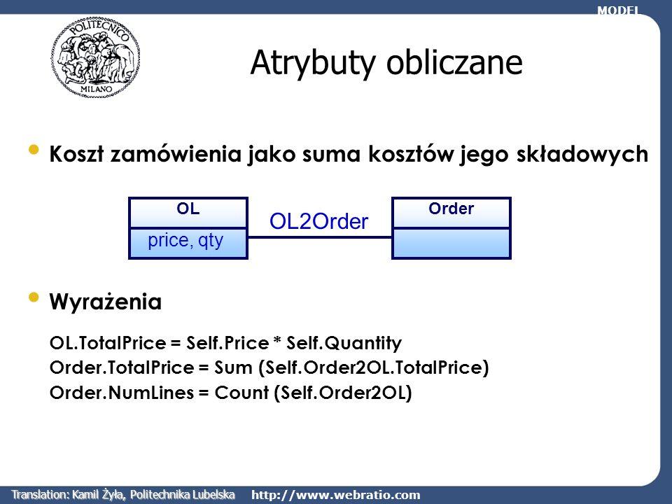 http://www.webratio.com Relacje pochodne WebOQL umożliwia tworzenie relacji Poprzez konkatenację (łączenie) istniejących relacji Poprzez uszczegółowianie istniejących relacji Poprzez łączenie par obiektów spełniających pewien warunek Zmienna Self wskazuje na instancję encji źródłowej relacji MODEL Translation: Kamil Żyła, Politechnika Lubelska