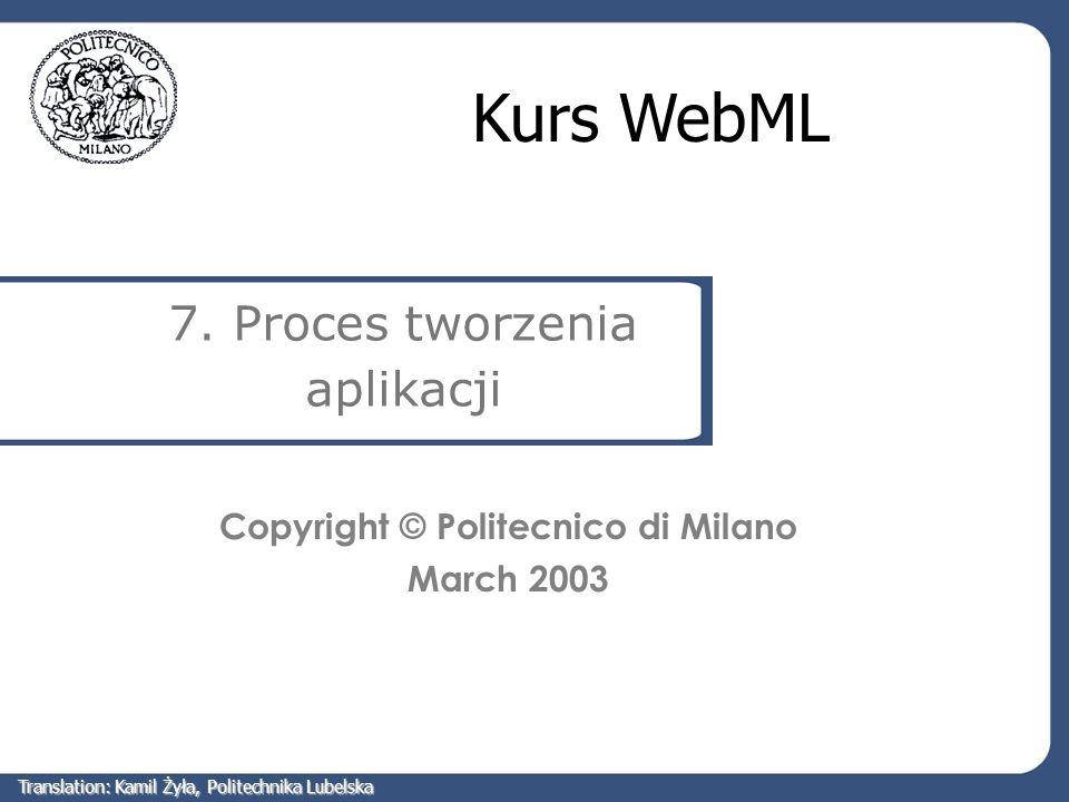 Plan Cykl życia aplikacji Specyfikacja wymagań Projektowanie modelu danych Projektowanie modelu hipertekstowego Translation: Kamil Żyła, Politechnika Lubelska