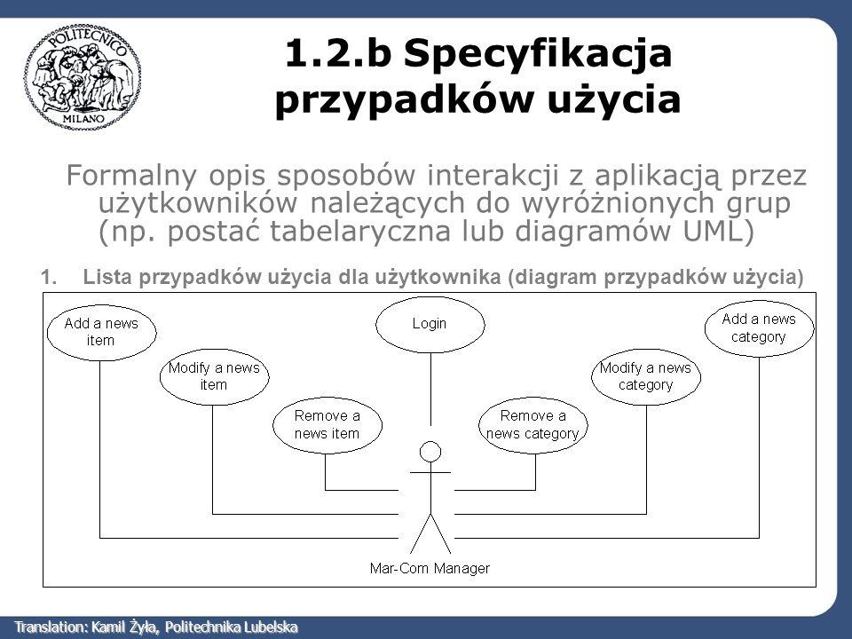Formalny opis sposobów interakcji z aplikacją przez użytkowników należących do wyróżnionych grup (np. postać tabelaryczna lub diagramów UML) 1.2.b Spe