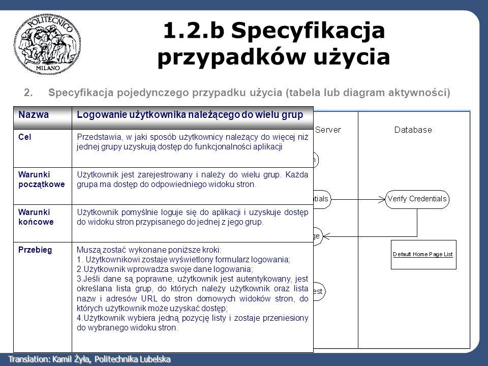 2.Specyfikacja pojedynczego przypadku użycia (tabela lub diagram aktywności) 1.2.b Specyfikacja przypadków użycia Muszą zostać wykonane poniższe kroki