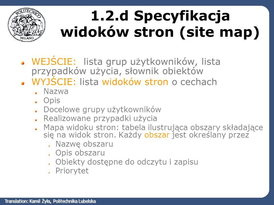 1.2.d Specyfikacja widoków stron (site map) WEJŚCIE: lista grup użytkowników, lista przypadków użycia, słownik obiektów WYJŚCIE: lista widoków stron o