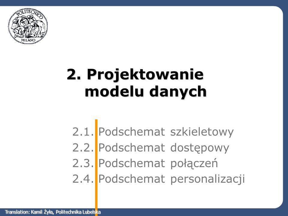 2. Projektowanie modelu danych 2.1. Podschemat szkieletowy 2.2. Podschemat dostępowy 2.3. Podschemat połączeń 2.4. Podschemat personalizacji Translati