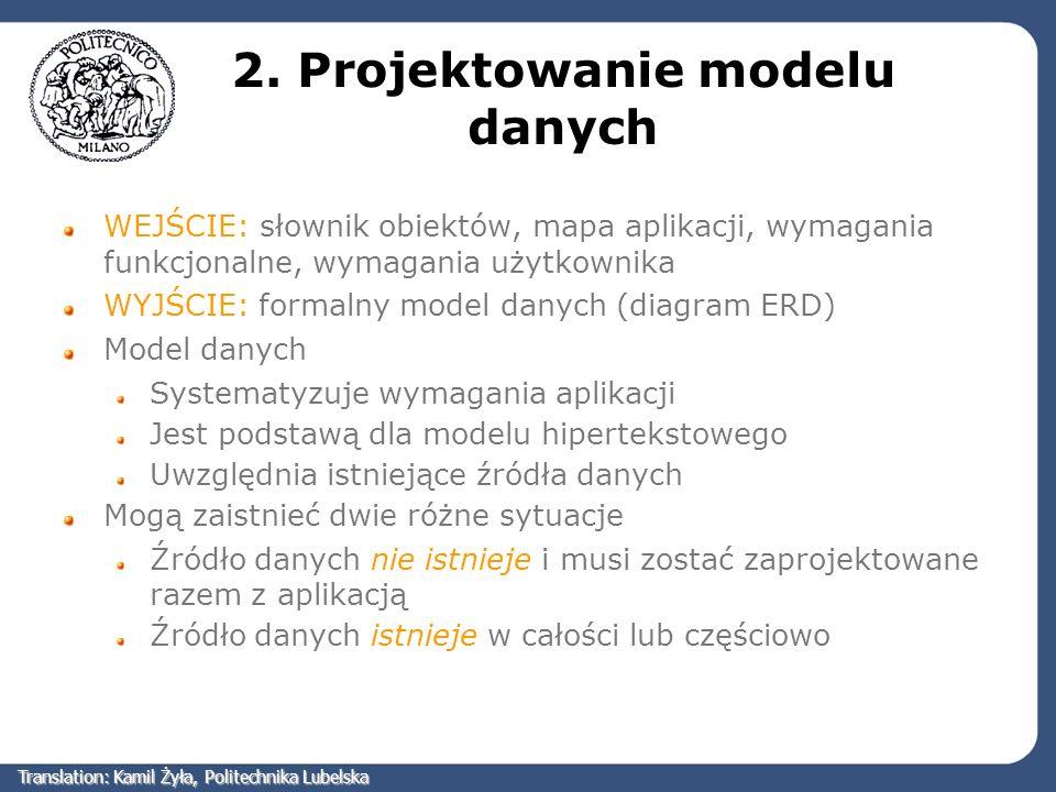 2. Projektowanie modelu danych WEJŚCIE: słownik obiektów, mapa aplikacji, wymagania funkcjonalne, wymagania użytkownika WYJŚCIE: formalny model danych
