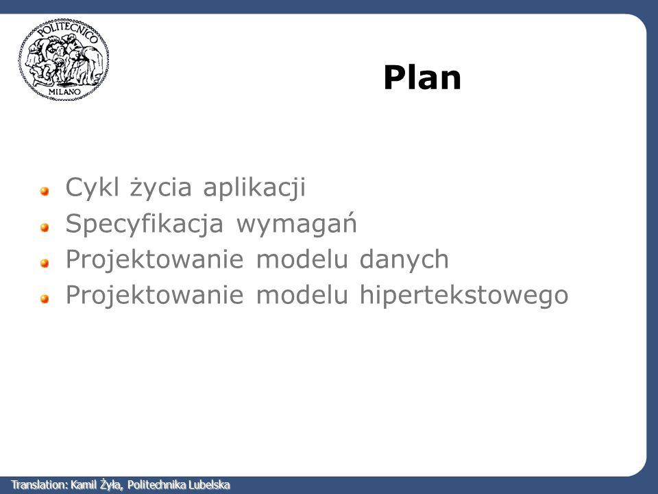 Plan Cykl życia aplikacji Specyfikacja wymagań Projektowanie modelu danych Projektowanie modelu hipertekstowego Translation: Kamil Żyła, Politechnika