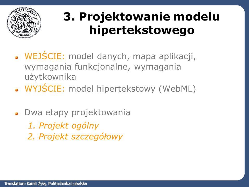 3. Projektowanie modelu hipertekstowego WEJŚCIE: model danych, mapa aplikacji, wymagania funkcjonalne, wymagania użytkownika WYJŚCIE: model hipertekst