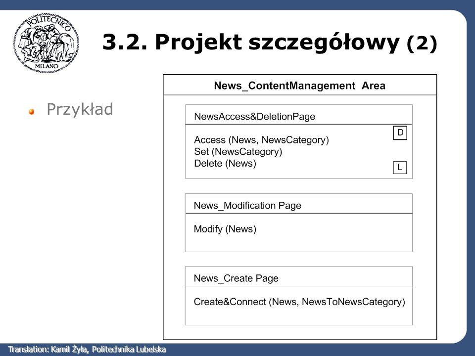 3.2. Projekt szczegółowy (2) Przykład Translation: Kamil Żyła, Politechnika Lubelska