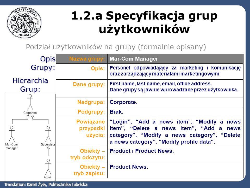 1.2.a Specyfikacja grup użytkowników Podział użytkowników na grupy (formalnie opisany) Hierarchia Grup: Product News.Obiekty – tryb zapisu: Product i