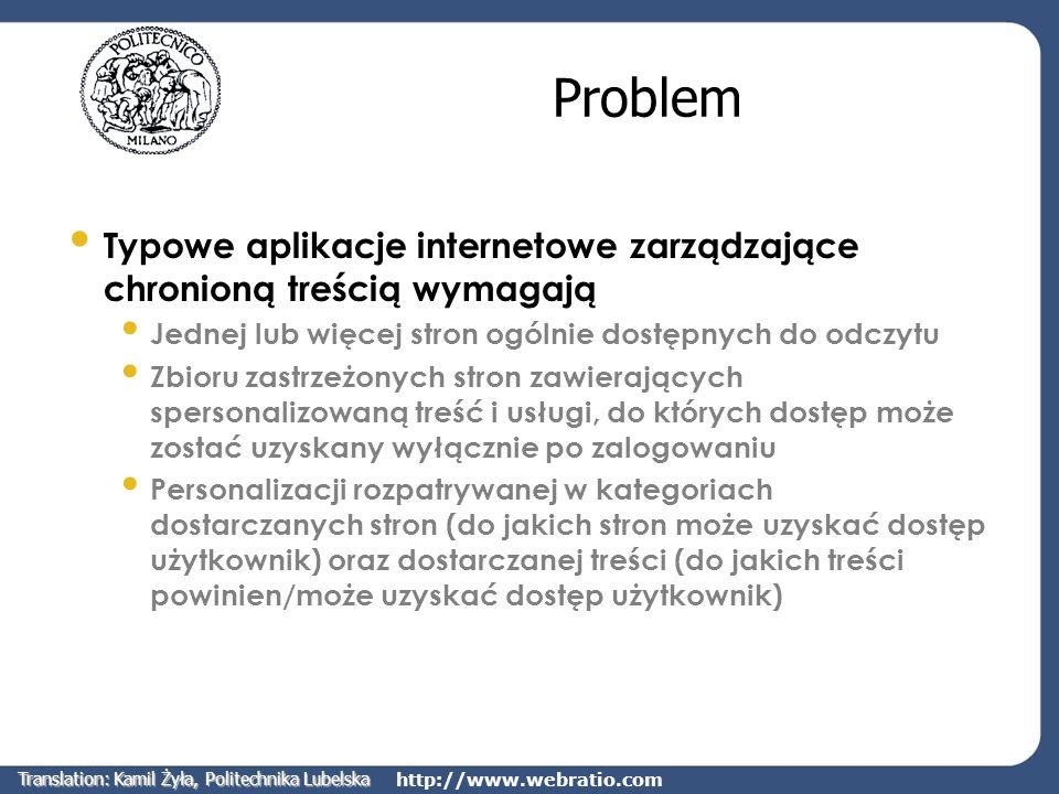 http://www.webratio.com Problem Typowe aplikacje internetowe zarządzające chronioną treścią wymagają Jednej lub więcej stron ogólnie dostępnych do odc
