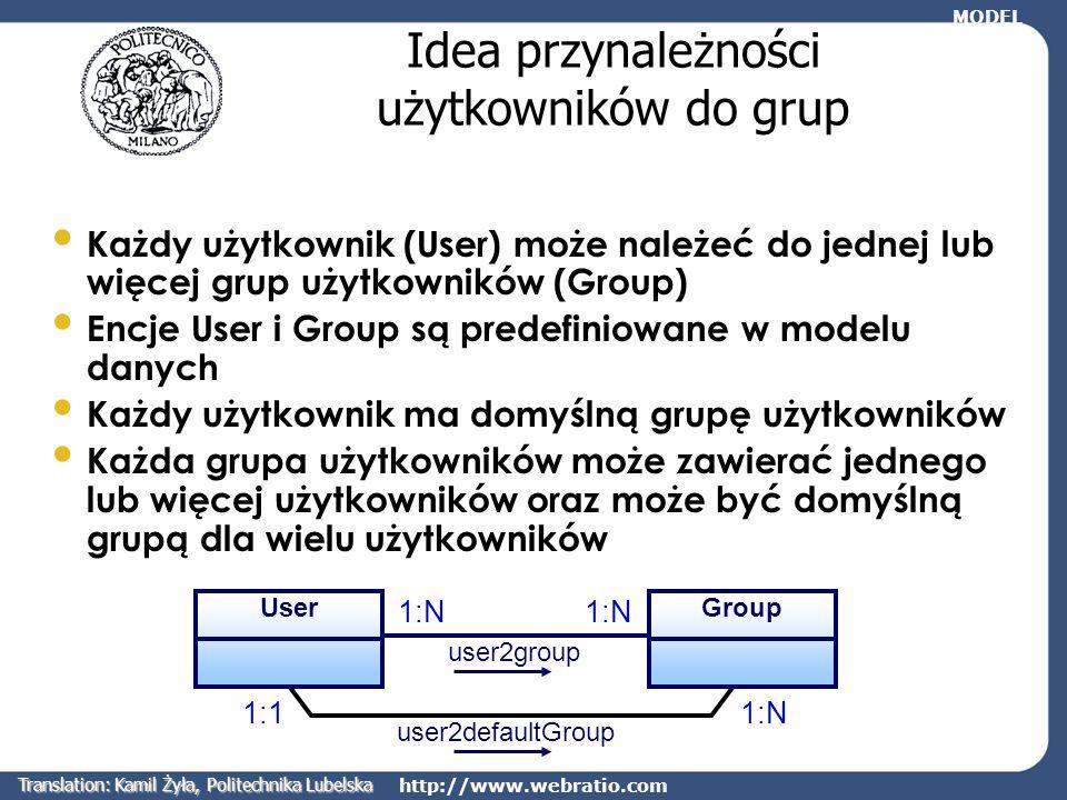 http://www.webratio.com Idea przynależności użytkowników do grup Każdy użytkownik (User) może należeć do jednej lub więcej grup użytkowników (Group) E