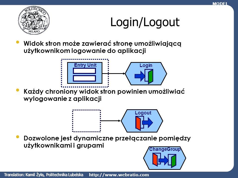 http://www.webratio.com Login/Logout Widok stron może zawierać stronę umożliwiającą użytkownikom logowanie do aplikacji Każdy chroniony widok stron po