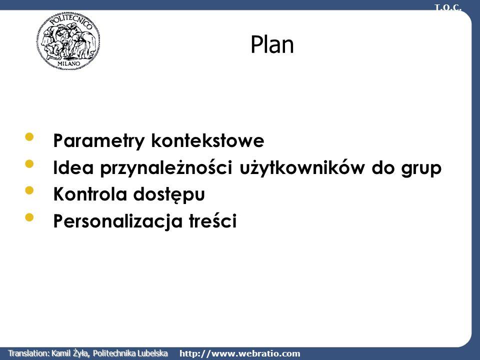 http://www.webratio.com Plan Parametry kontekstowe Idea przynależności użytkowników do grup Kontrola dostępu Personalizacja treści T.O.C. Translation: