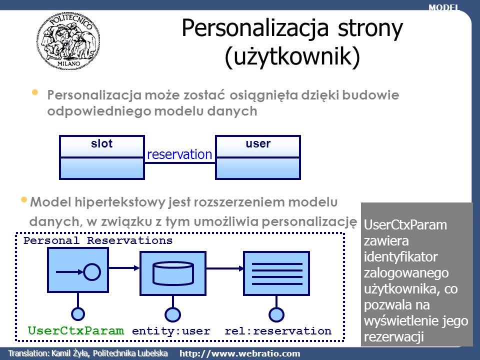 http://www.webratio.com reservation Personalizacja strony (użytkownik) Personalizacja może zostać osiągnięta dzięki budowie odpowiedniego modelu danyc