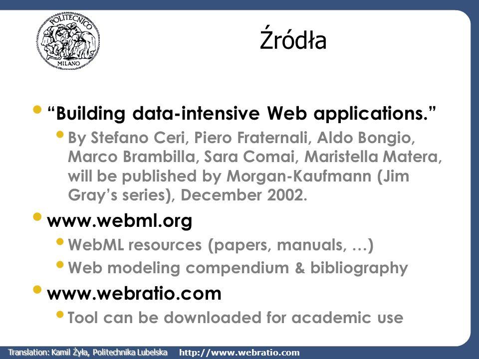 http://www.webratio.com Źródła Building data-intensive Web applications. By Stefano Ceri, Piero Fraternali, Aldo Bongio, Marco Brambilla, Sara Comai,