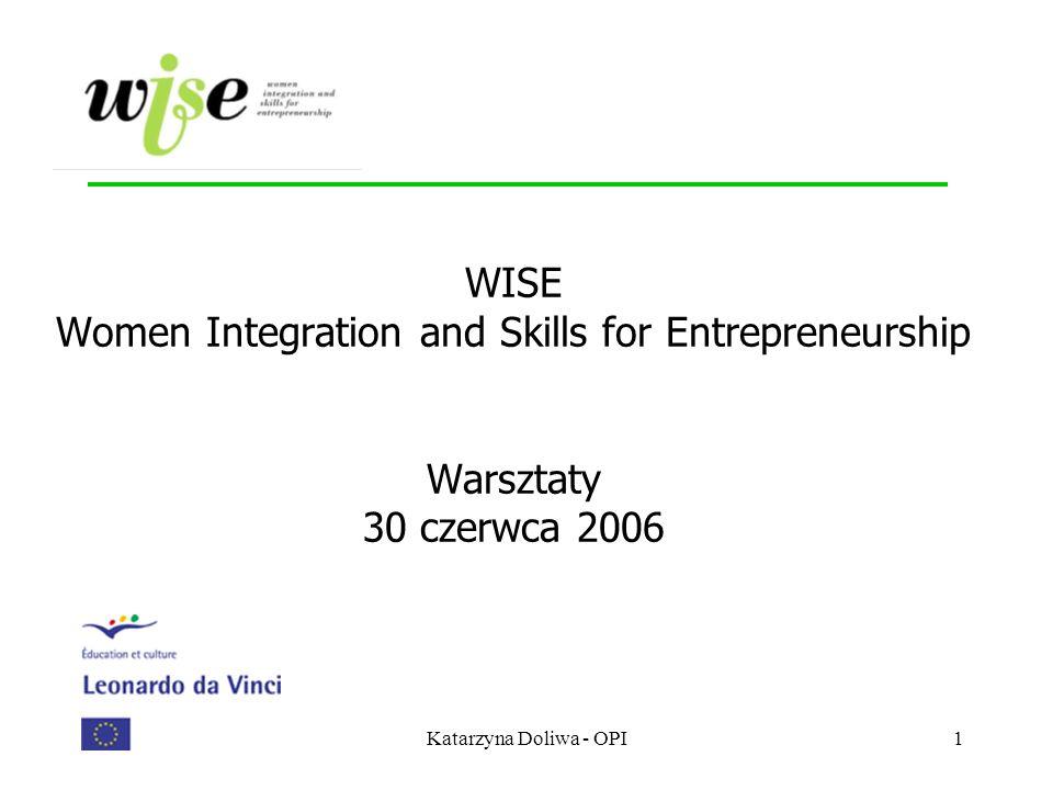 Katarzyna Doliwa - OPI1 WISE Women Integration and Skills for Entrepreneurship Warsztaty 30 czerwca 2006